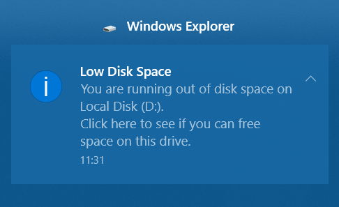 Low Disc Space