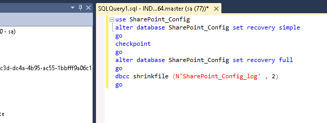 DB Shrink query