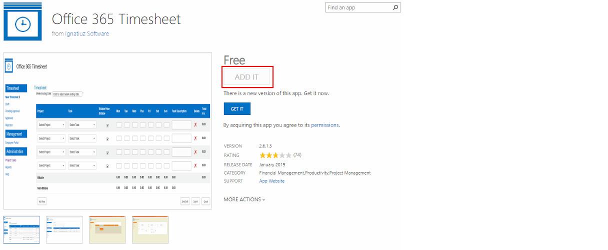 Office 365 Timesheet App Add