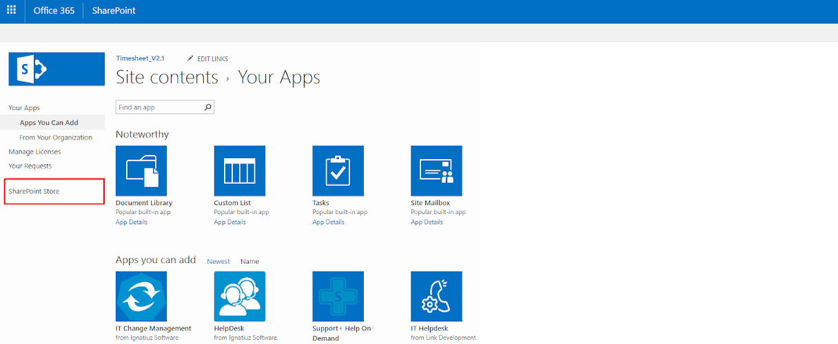 Office 365 Timesheet App Store Office