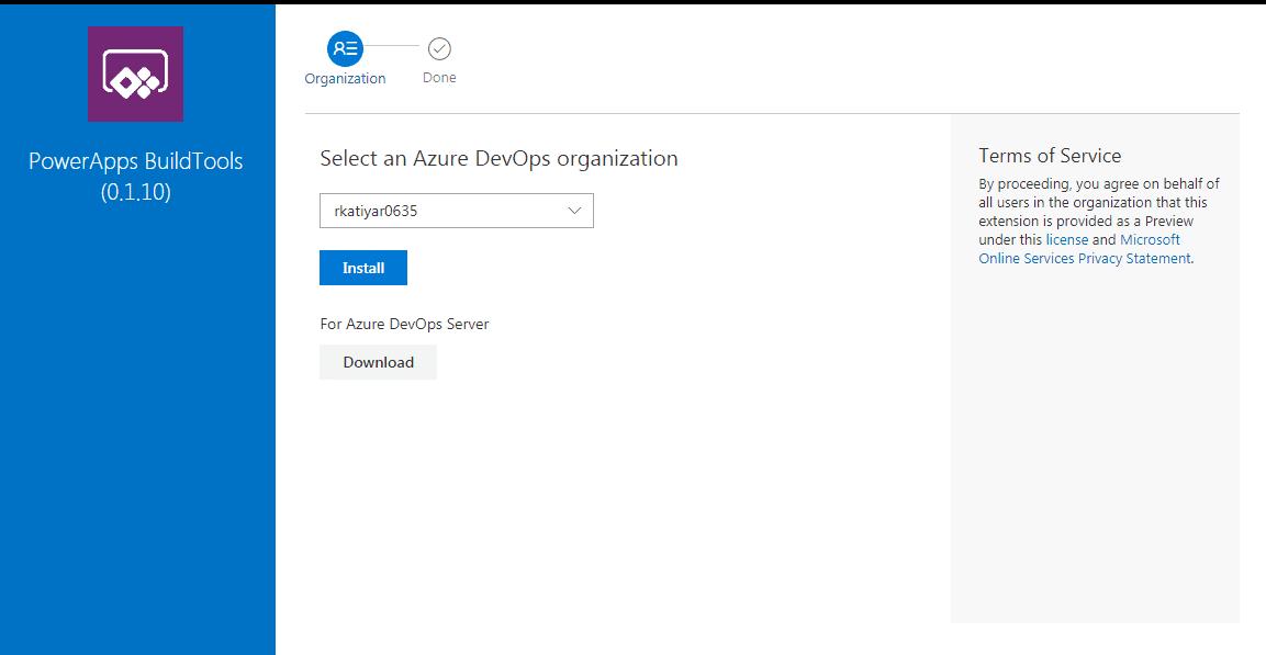 Select Azure DevOps organization