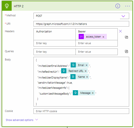 Microsoft graph api of invitation