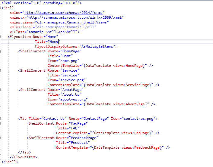 Xaml code to add features