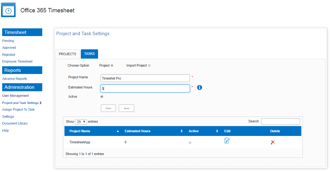 project setting with estimate hour