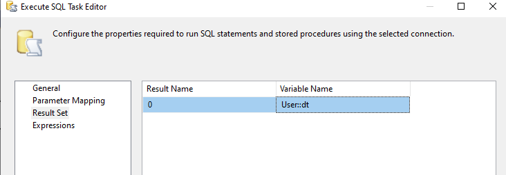 excute sql task manager
